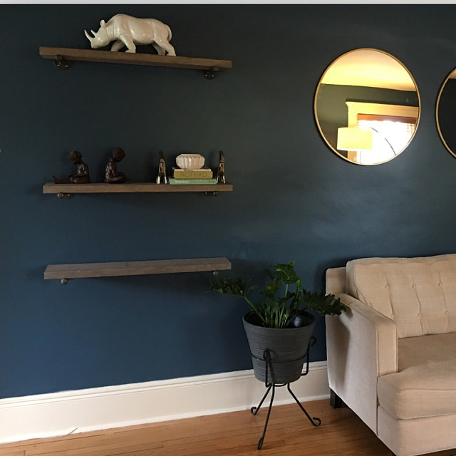 blue wall floating shelves