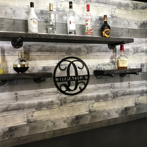 industrial floating bar shelves